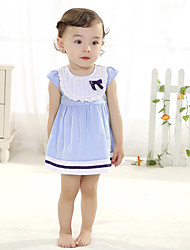 Baby Casual/Daily Solid DressCotton Summer Blue