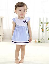 Robe bébé Couleur Pleine Décontracté / Quotidien Coton Eté Bleu
