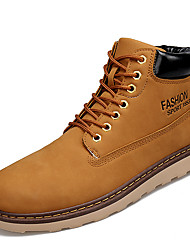 Men's Flats Work & Safety / Comfort PU Outdoor / Casual Low Heel Others / Lace-up Black / Brown / KhakiWalking /