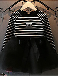 Girl's Going out Striped Clothing SetCotton Spring / Fall Black