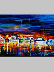 Hand-Painted Modern Abstract Knife Boat Seascape Oil Painting On Canvas Wall Art For Home Decoration Ready To Hang