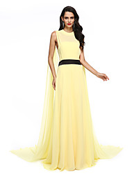 TS Couture Formal Evening Dress - Celebrity Style A-line Jewel Watteau Train Chiffon with Sash / Ribbon