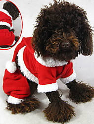 Cat / Dog Costume / Hoodie / Clothes/Jumpsuit Red Dog Clothes Winter Solid Cute / Cosplay / Christmas
