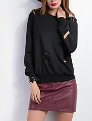 Normal Hoodies Femme Décontracté / Quotidien simple,Couleur Pleine Noir Col Arrondi Manches Longues Coton Automne / Hiver Moyen