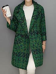 Manteau Femme,Pied-de-poule Sortie Chic de Rue Manches Longues Revers Cranté Noir / Vert Laine / Polyester Moyen Automne / Hiver