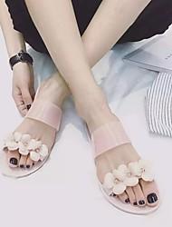 Women's Sandals Summer Slingback PVC Casual Flat Heel Flower Black / Beige Others