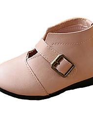 Girl's Boots Fall / Winter Comfort PU Casual Flat Heel Zipper Black / Brown / Pink Walking
