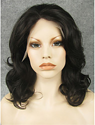 IMSTYLE 16''Natural Looking Black Curly Synthetic Lace Wig Lace Front For Black Women Dyeable