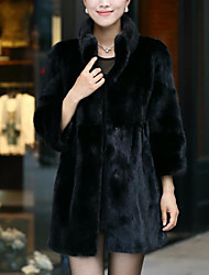 Women's Casual/Daily Simple Fur Coat,Solid Long Sleeve Winter White / Black Faux Fur
