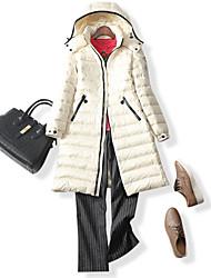 Пальто Простое Пуховик Женский,Однотонный На каждый день Нейлон Пух белой утки,Длинный рукав Бежевый / Черный