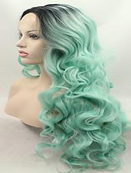 sylvia laço sintético peruca frente raízes negras cabelo verde ombre hair calor longas perucas sintéticas onduladas resistentes