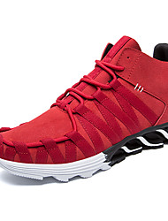 Men's Athletic Shoes Fall Winter Mary Jane Suede Outdoor Athletic Flat Heel Lace-up Black Red Gray Running