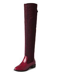 Damen-Stiefel-Kleid Lässig Sportlich-Stretch - Satin PU-Niedriger Absatz-Komfort-Schwarz Blau Rot