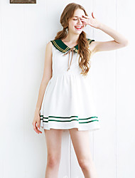 Linjou Women's Going out Cute A Line DressColor Block Round Neck Above Knee Short Sleeve White Polyester High Rise