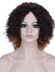 Fashion Style Short Curly Wig with  Light Brown Yellow and Brown Color Synthetic Wigs for Women