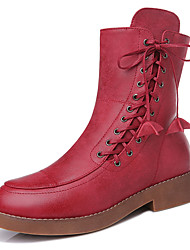 Women's Boots Winter Comfort Leatherette Party & Evening / Dress / Casual Low Heel Others Black / Burgundy Others