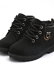 Boy's Boots Spring Fall Winter Comfort Ankle Strap Suede Outdoor Casual Athletic Low Heel Lace-up Zipper Black Brown Khaki