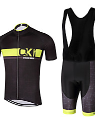 QKI Cycling wear Super Men's Cycling Jersey with Bib Shorts 5D Pro Gel Padde Unisex Short SleeveBreathable