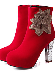 Women's Boots Spring / Fall / Winter Fashion Boots / Combat Boots Leatherette/ Casual Chunky Heel Others / FlowerBlack /