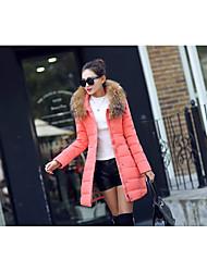 Manteau Doudoune Femme,Long simple Décontracté / Quotidien Couleur Pleine-Polyester Duvet de Canard Blanc Manches Longues Rose / Noir