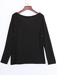 Damen Solide Street Schick Lässig/Alltäglich T-shirt,V-Ausschnitt Herbst Langarm Weiß / Schwarz Baumwolle Dünn