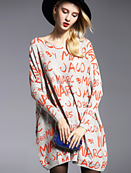 Women's Plus Size / Casual/Daily Simple Sweater DressPrint Round Neck Above Knee Long Sleeve Orange Nylon Fall