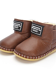 Boy's Flats Winter Comfort Leather Outdoor Casual Athletic Flat Heel Magic Tape Black Brown Champagne Walking