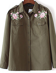 Women's Embroidery Casual/Daily Chinoiserie Jackets,Embroidered Long Sleeve Winter Green Polyester