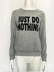 Normal Hoodies Femme Décontracté / Quotidien simple / Actif,Lettre Gris Col Arrondi Manches Longues Coton Automne / Hiver Moyen Elastique