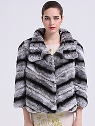 BF-Fur Style  Women's Casual/Daily Sophisticated Fur CoatStriped Shirt Collar  Sleeve Winter Gray Rex Rabbit Fur