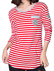 Fall Women Clothing Tops Round Neck Long Sleeve  Fashion Striped T-shirt Ladies Casual Go Out Tops Blue/Red/Black