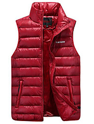 Men's Regular Down Coat,Simple Casual/Daily Solid-Polyester White Duck Down Sleeveless Stand Blue / Red / Black / Green