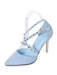 Damen-High Heels-Hochzeit / Kleid / Party & Festivität-PU-Stöckelabsatz-D'Orsay und Zweiteiler-Schwarz / Blau