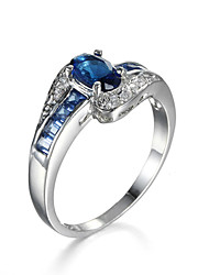 2 colors Sapphire Jewelry Womens CZ Stone Stainless Steel Rings Rhodium Plated Copper Round Cubic Zirconia Wedding