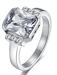 New Hot CZ Diamond Engagement Stainless Steel Ring AAA Cubic Zirconia Wedding Ring For Women