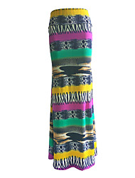 Women's Color Block Purple Skirts,Plus Size / Boho Maxi