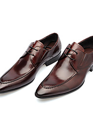 Men's Oxfords Leather Synthetic Spring Fall Casual Office & Career Lace-up Low Heel Black coffee Under 1in