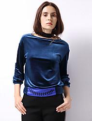 Dames Uitgaan Eenvoudig Normaal Hoodies Geborduurd-Blauw Ronde hals Lange mouw Polyester / Spandex Herfst Medium Micro-elastisch