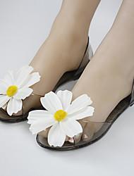 Feminino-Sandálias-Conforto-Rasteiro Heel translúcido-Preto Champanhe-Courino-Casual