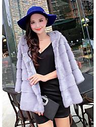 New winter long section of female small imitation mink coat Haining female mink fur coat hooded horizontal extension