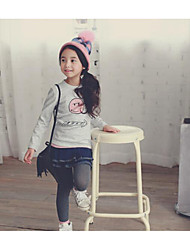 Girl's Casual/Daily Print TeePolyester Winter / Fall Gray