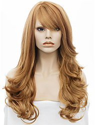 IMSTYLE22''Beautiful Brown Long Wave Synthetic Machine No Lace Wigs