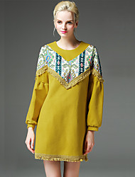 GATHER BEAUTY Women's Going out Simple A Line DressPatchwork Round Neck Above Knee Long Sleeve Yellow Wool / Polyester Fall Mid Rise Inelastic Thick