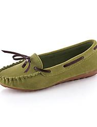 Feminino-Sapatos de Barco-Conforto-Rasteiro-Preto / Verde / Vermelho / Cinza-Couro Ecológico-Casual