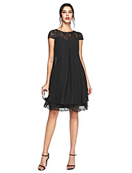 LAN TING BRIDE A-line Plus Size Mother of the Bride Dress - Little Black Dress Knee-length Short Sleeve Chiffon Lace with Beading Pleats