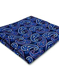 Mens Pocket Square Blue Paisley 100% Silk Business Fashion For Men Jacquard Woven