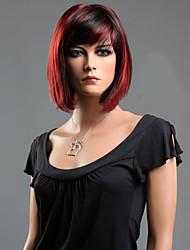 preto misturado onda de cabelo peruca de fibra sintética vermelha