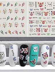 3pcs Cats and Birds Nail Watermark Stickers