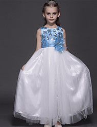 Ball Gown Ankle-length Flower Girl Dress - Satin / Tulle Sleeveless Jewel with Flower(s)