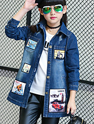 Girl's Casual/Daily Patchwork JeansCotton Spring / Fall Blue